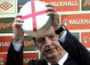Hodgson holds aloft his favourite cheese embellished with the cross of St. George